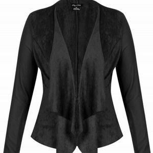 City Chic Black Faux Suede Drapped Jacket